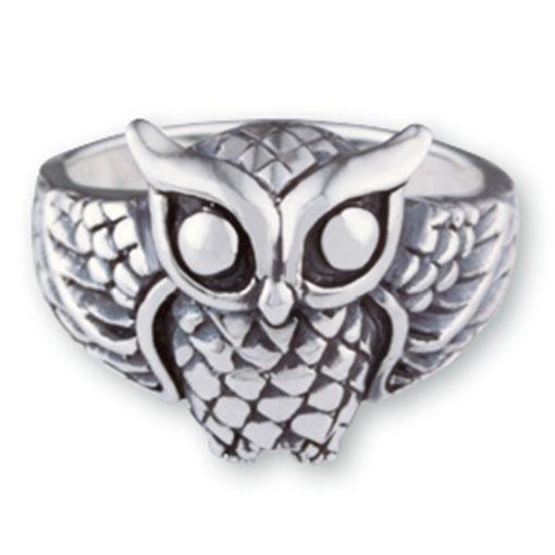 Streling Silver Owl of Wisdom Ring