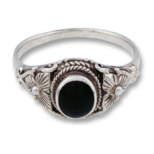 Silver Ring Flower and Stone