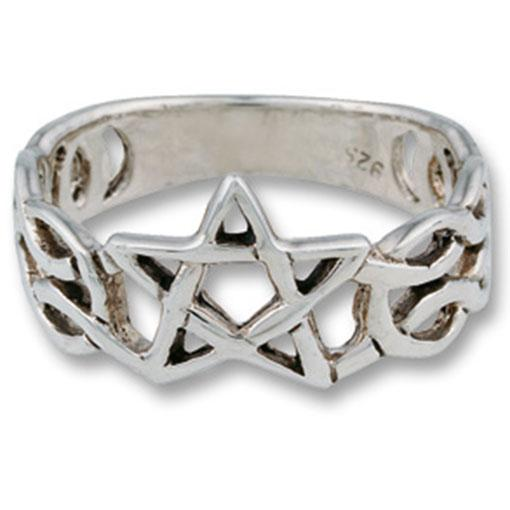 Sterling Silver Pentagram Celtic Knot Ring