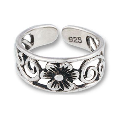 Wide Flower Toe Ring