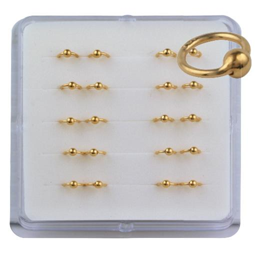 Gold Plated Nail Rings (20 Pc)