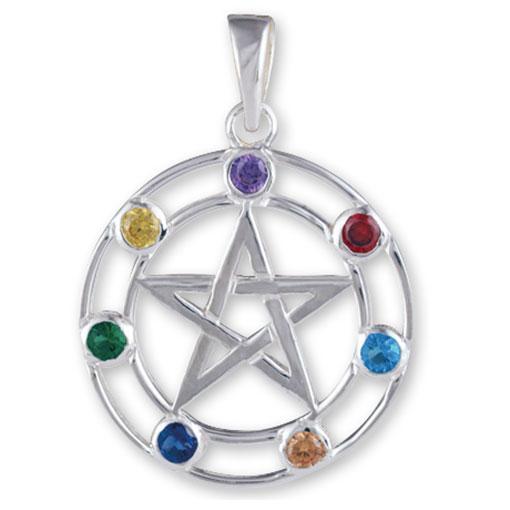 Sterling Silver Gem Pentagram Pendant
