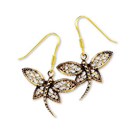 Gypsy Gold Dragonfly Earrings