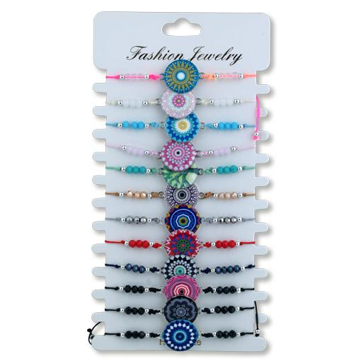 Assorted Mandala Bracelets on card 12 pack