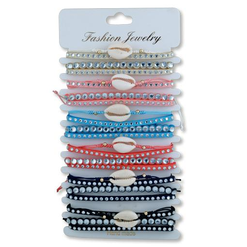Cowrie and Diamonte Wristbands 6 pack