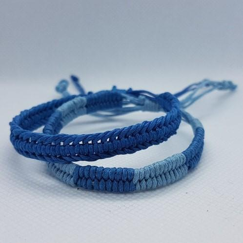 Cotton Bracelets on Display Roll Blue - 60 Pieces