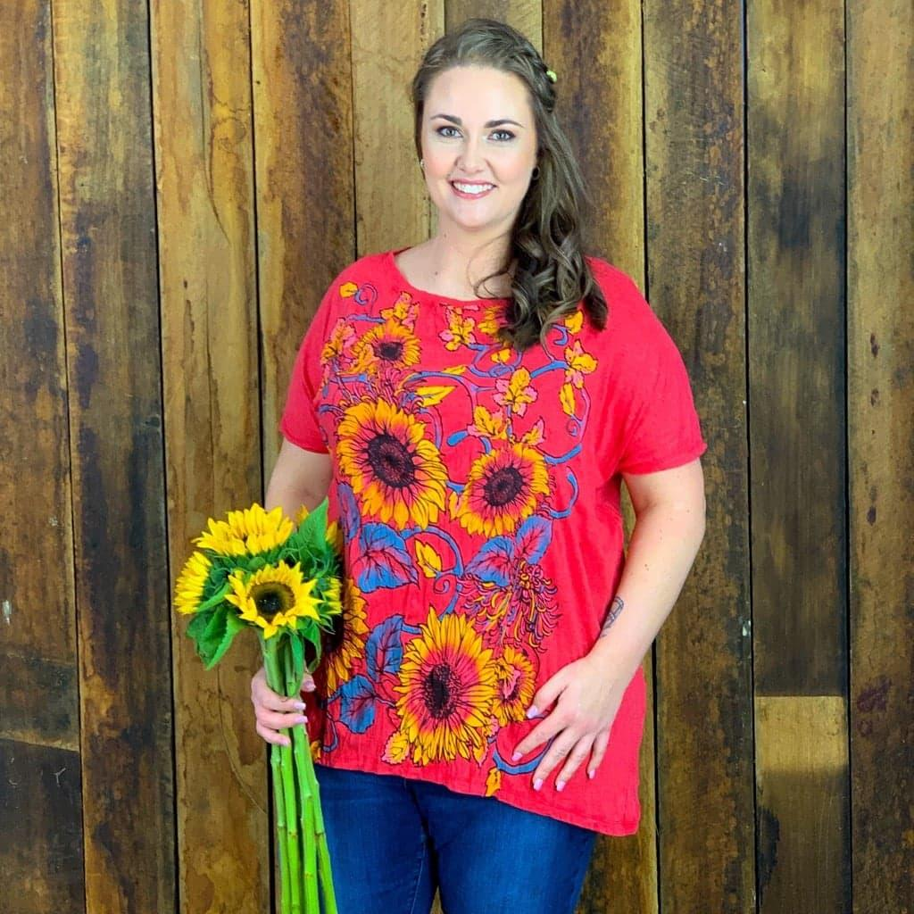 Sunflower Top- PLUS SIZE- NEW