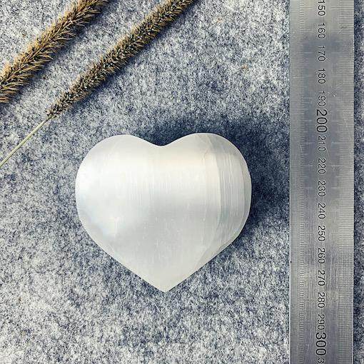 Polished Selenite Puffy Heart (Med) x 1