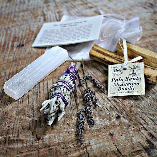 Palo Santo Meditation Bundle w Selenite Wand