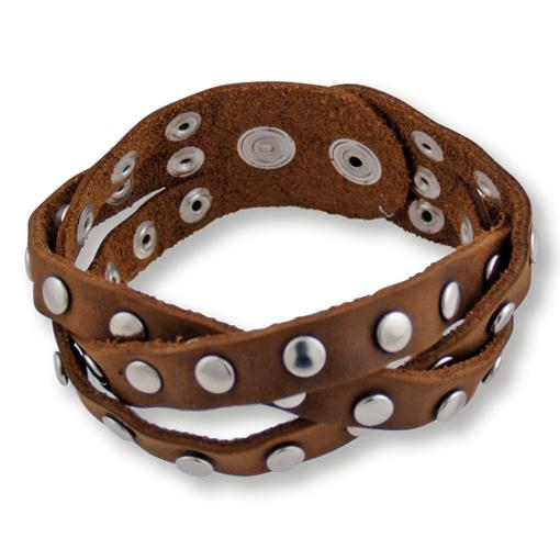 Studded Boho Leather Wristbands- 6 pack