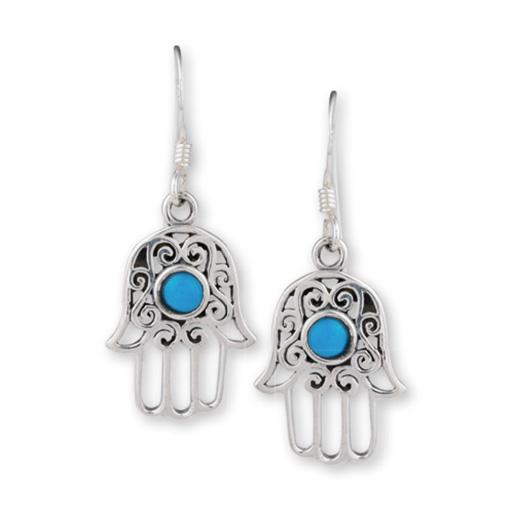 Hand Of Fatima Earrings Turquoise