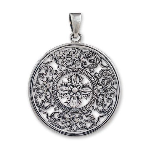 Silver Flower Mandala Pendant