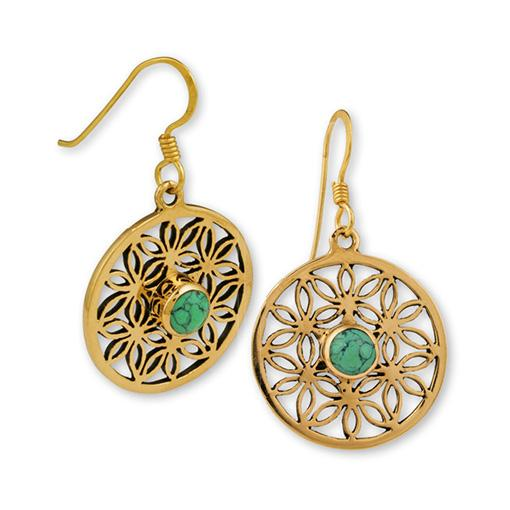 Flower Of Life Gypsy Gold Earrings
