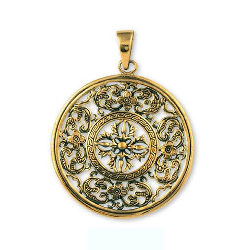 Bronze Flower Mandala Pendant