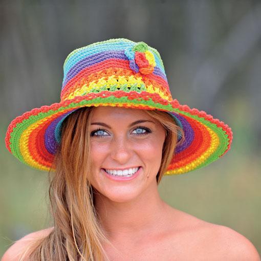 Wide Brim Rainbow Hat