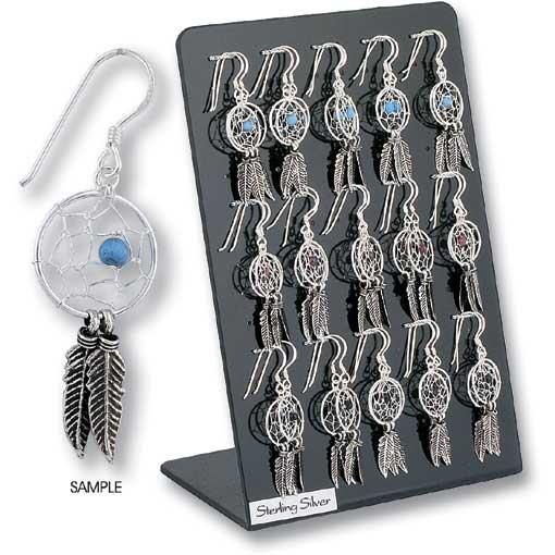 Sterling Silver Dream Catcher Earrings (15 Pairs)