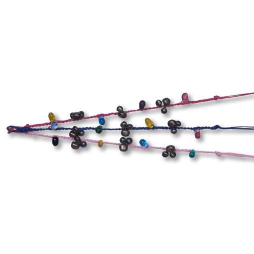 Cotton Bell Anklet with Large Beads (10 Pack)